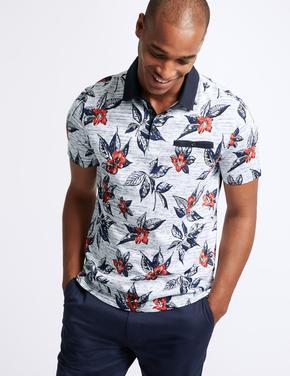 Saf Pamuklu Desenli Slim Fit Polo Yaka T-Shirt