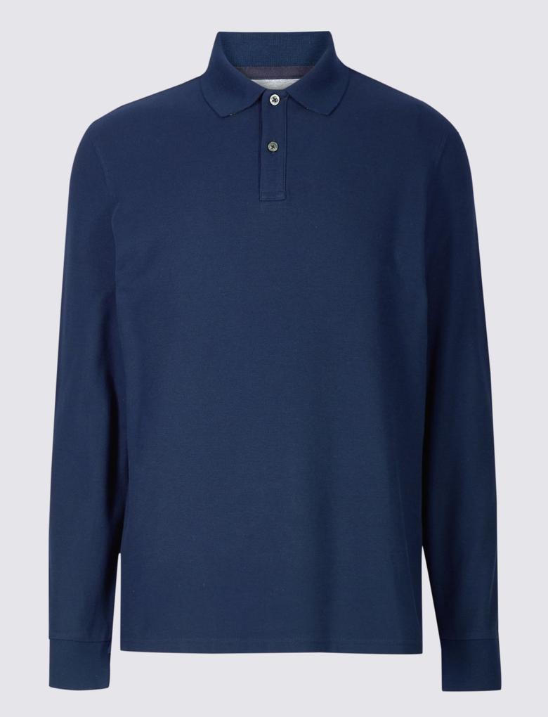 Lacivert Erkek Saf Pamuklu Polo Yaka T-Shirt