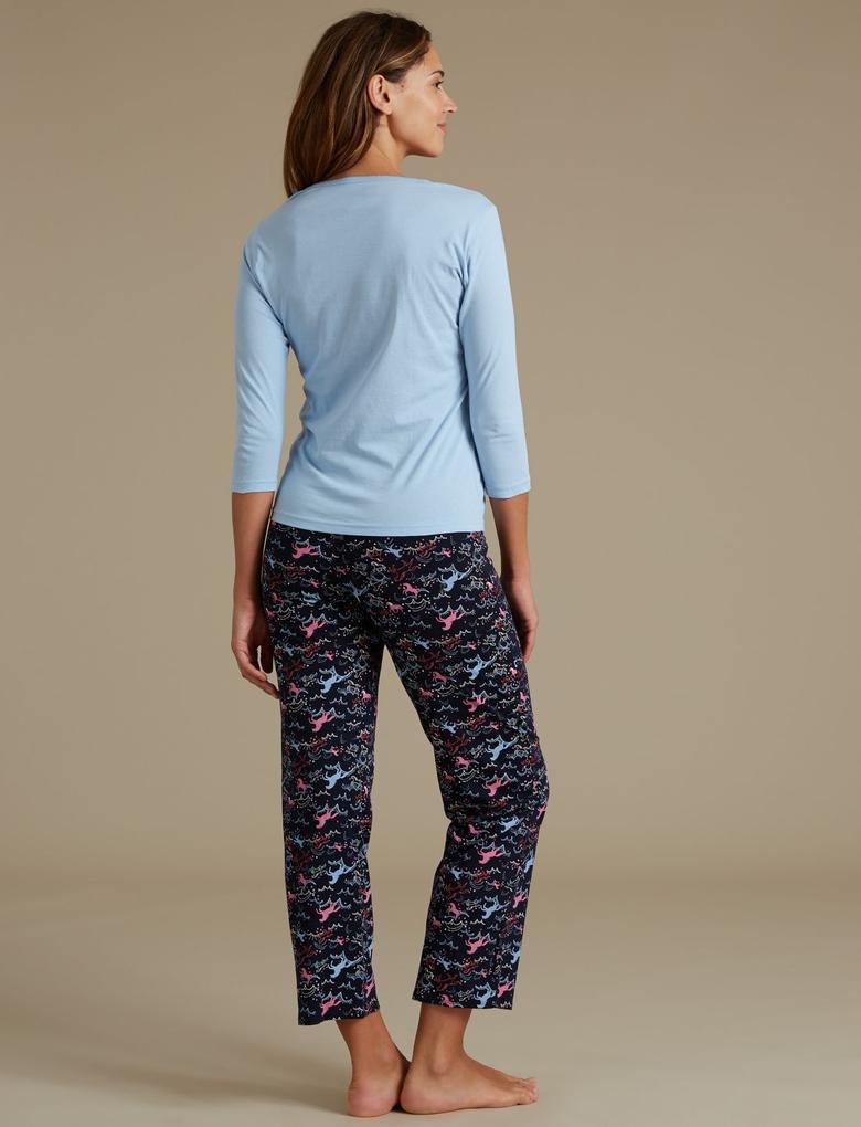 Saf Pamuklu Unicorn Desenli Pijama Takımı