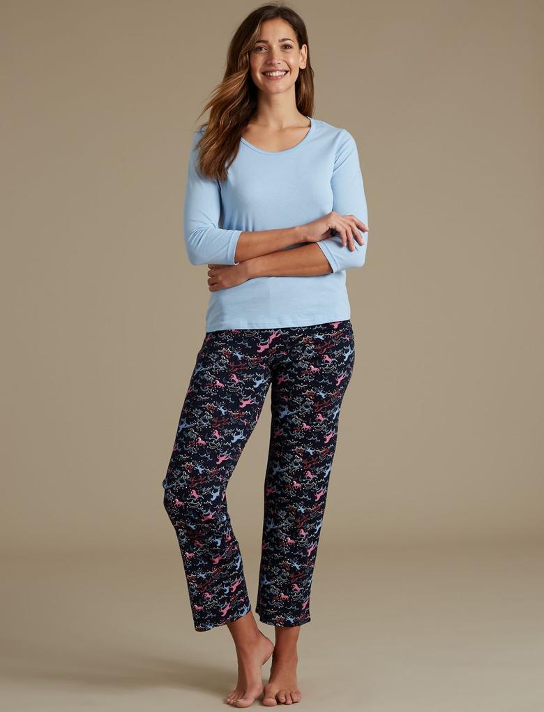 Lacivert Saf Pamuklu Unicorn Desenli Pijama Takımı