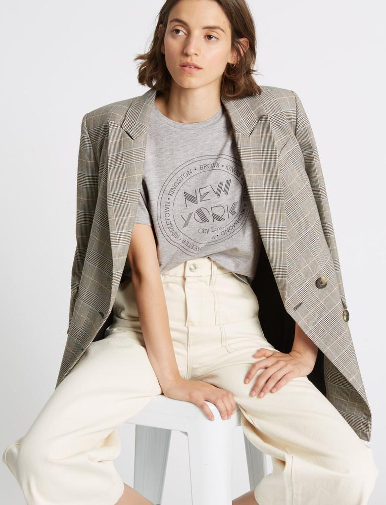 Gri Pamuklu Desenli Kısa Kollu T-Shirt