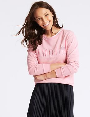 Pamuklu İşlemeli Sweatshirt