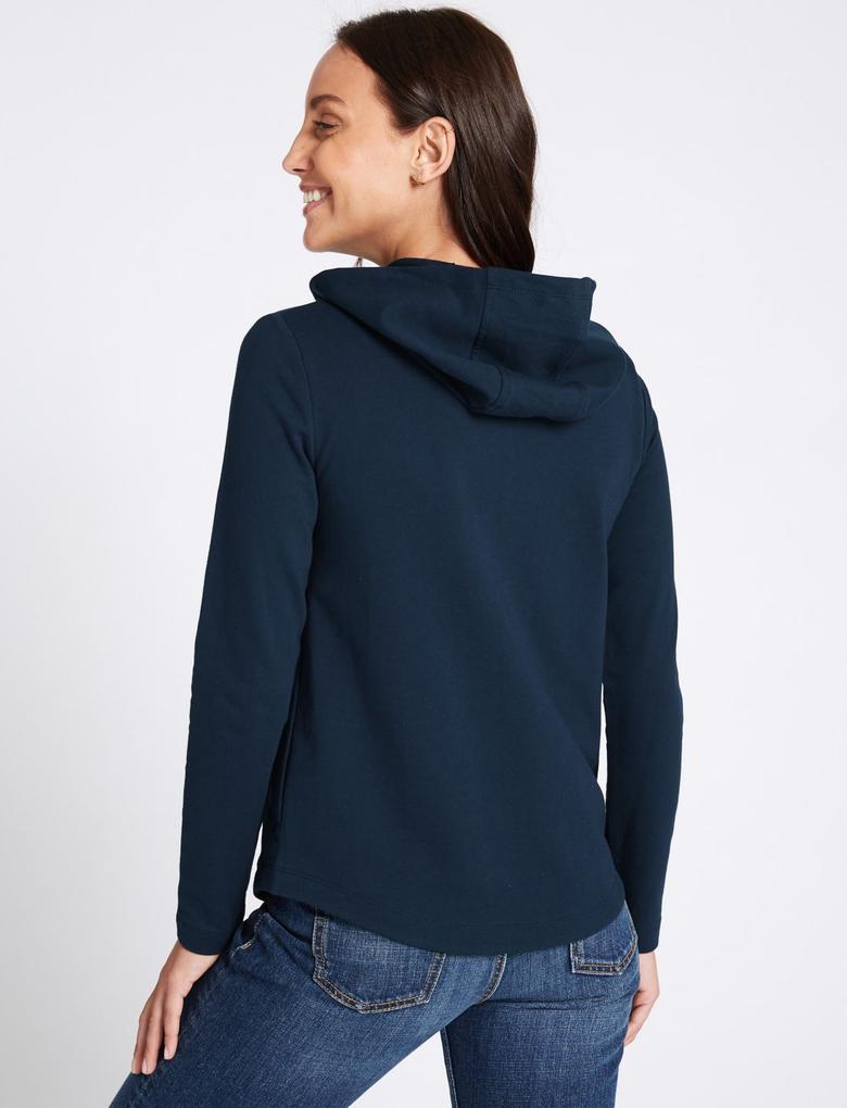Lacivert Saf Pamuklu Uzun Kollu Sweatshirt