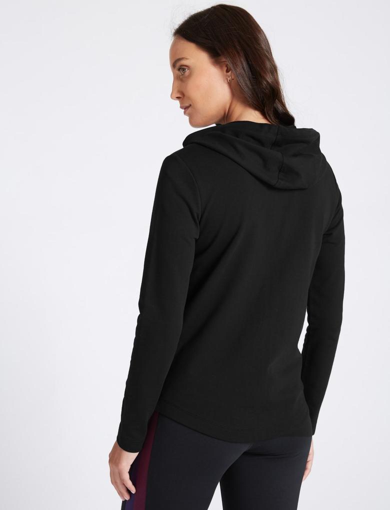 Siyah Saf Pamuklu Uzun Kollu Sweatshirt