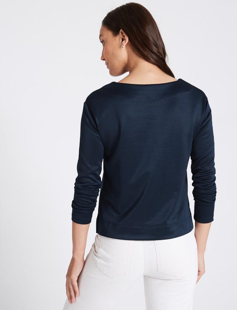 Lacivert Pamuklu Uzun Kollu Bluz