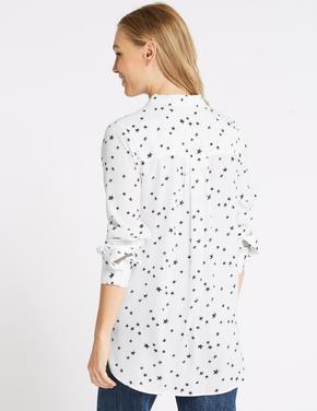 Desenli Uzun Kollu Saten Gömlek
