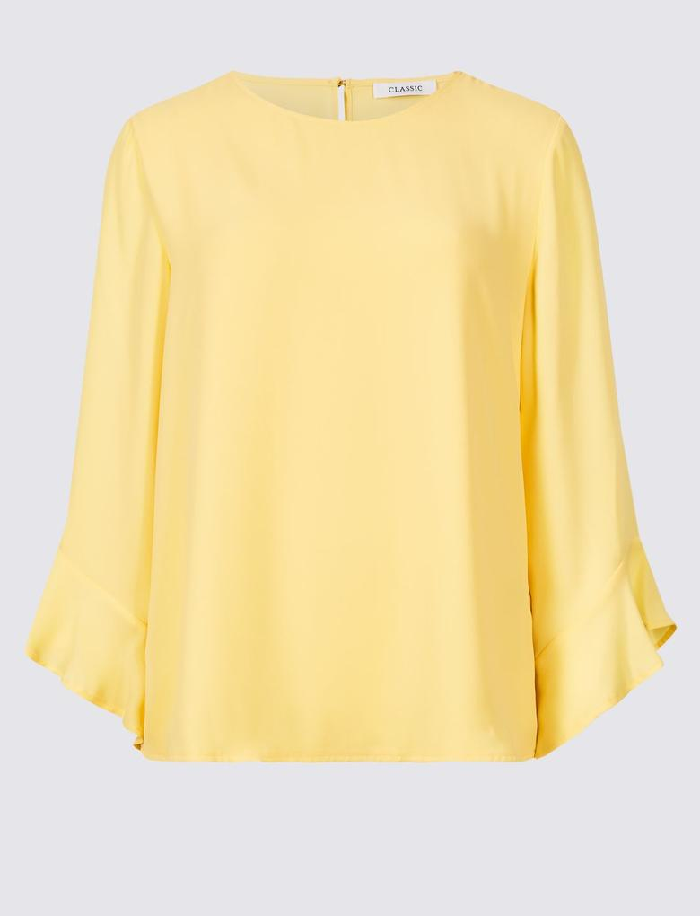 Sarı Uzun Kollu Yuvarlak Yaka Bluz