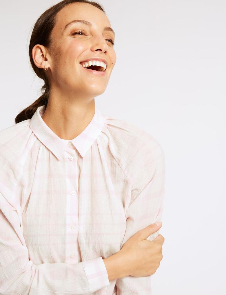 Kadın Pembe Saf Pamuklu Uzun Kollu Ekose Gömlek