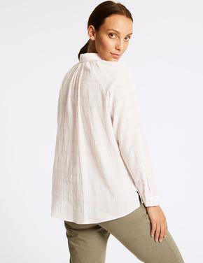 Saf Pamuklu Uzun Kollu Ekose Gömlek