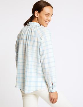 Mavi Saf Pamuklu Uzun Kollu Ekose Gömlek