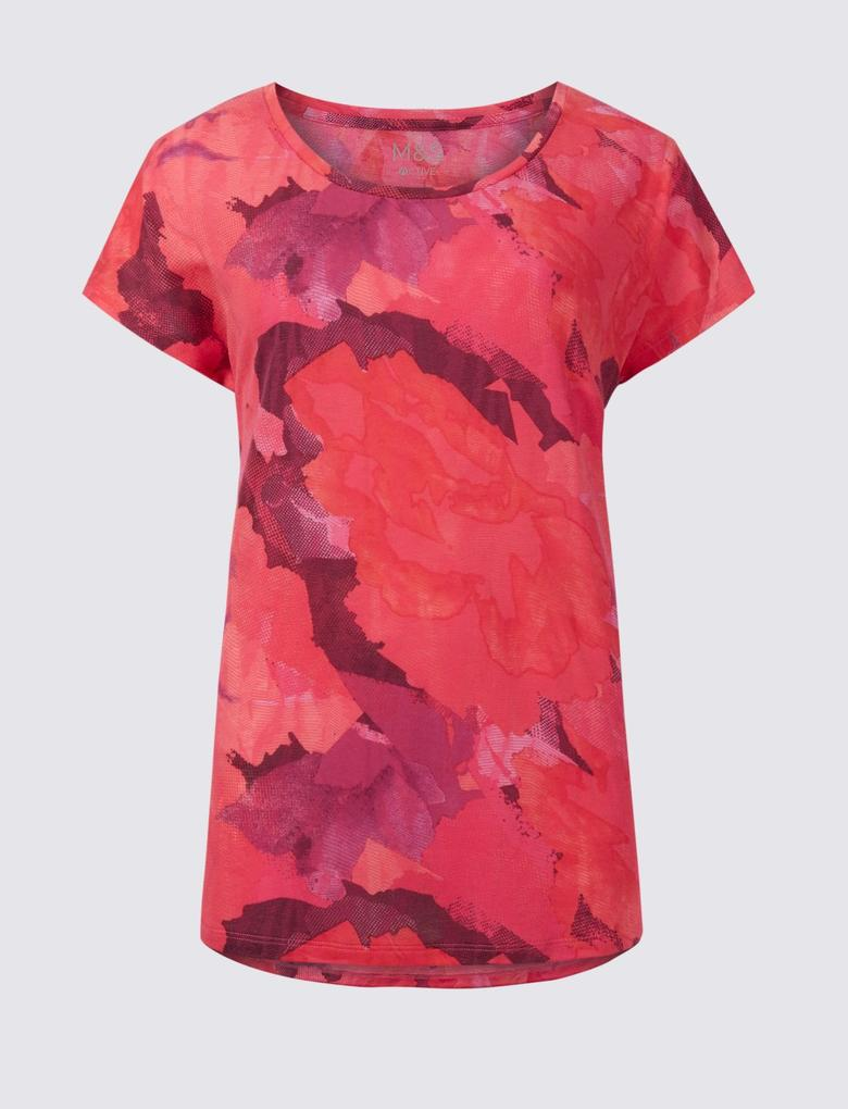 Kadın Pembe Desenli Kısa Kollu T-Shirt