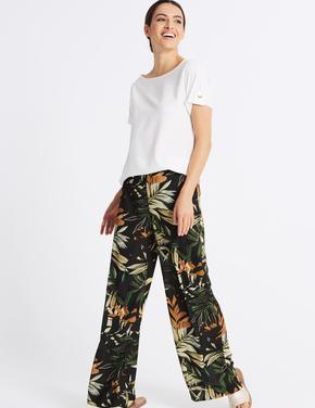 Çiçek Desenli Wide Leg Pantolon