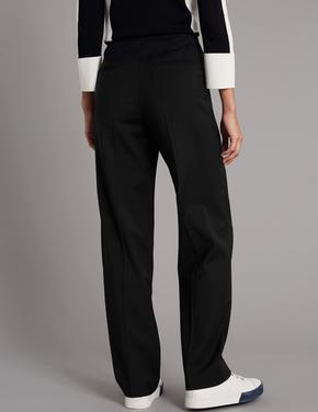 Yün Karışımlı Straight Leg Pantolon