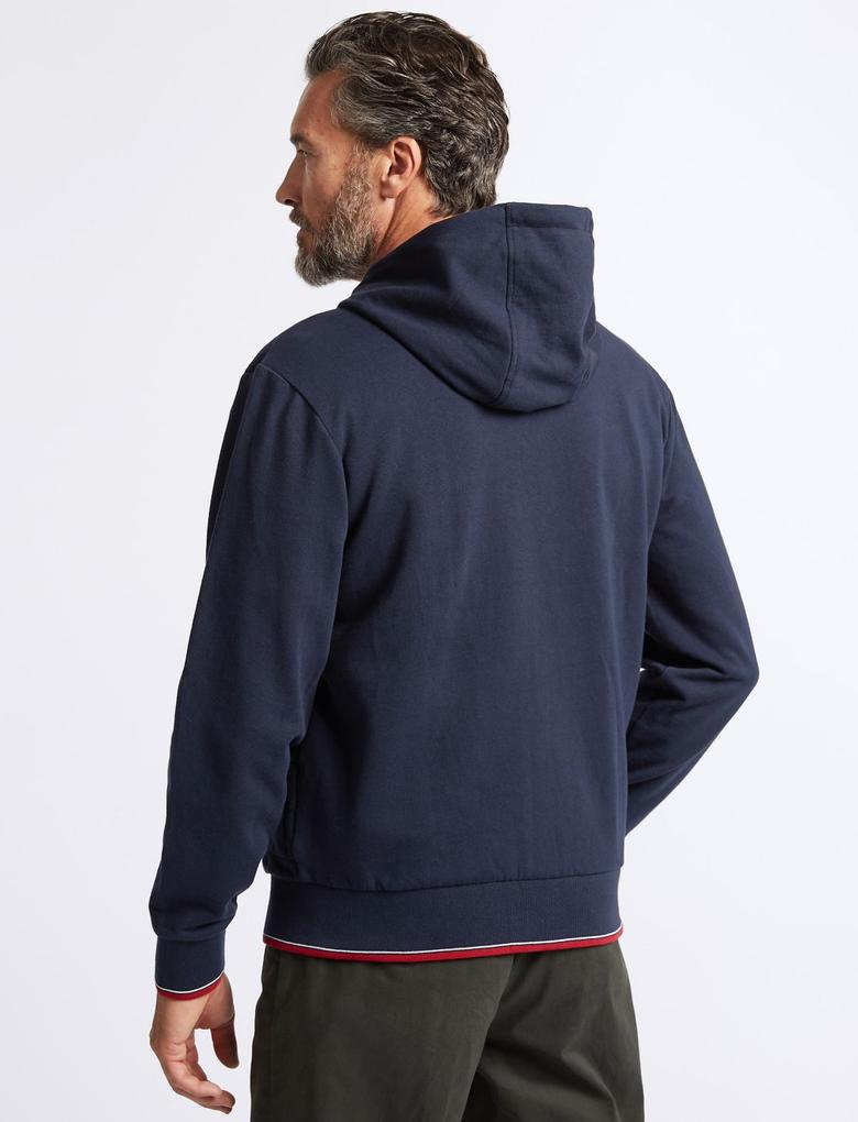 Lacivert Pamuklu Fermuarlı Kapüşonlu Sweatshirt