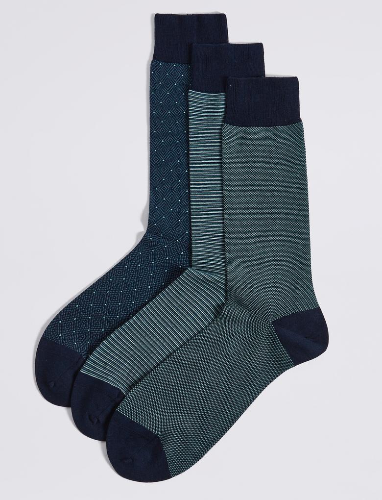 Yeşil 3'lü Egyptian Cotton Çorap