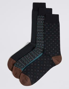3'lü Pamuklu Desenli Çorap