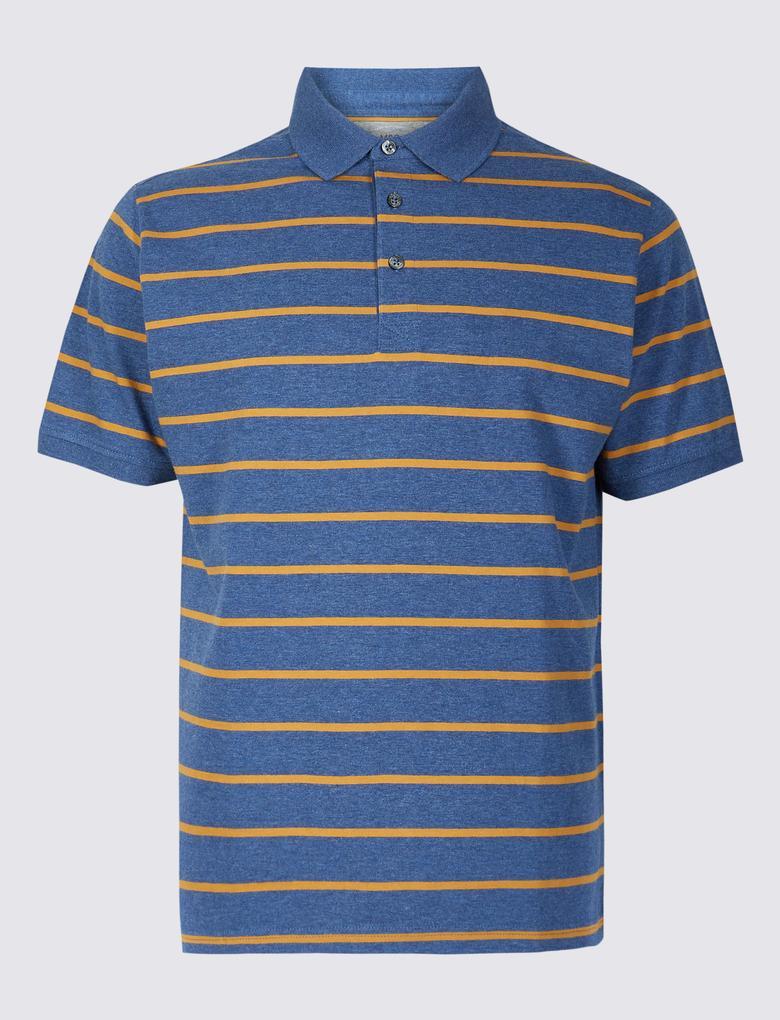 Kahverengi Saf Pamuklu Çizgili Polo Yaka T-Shirt