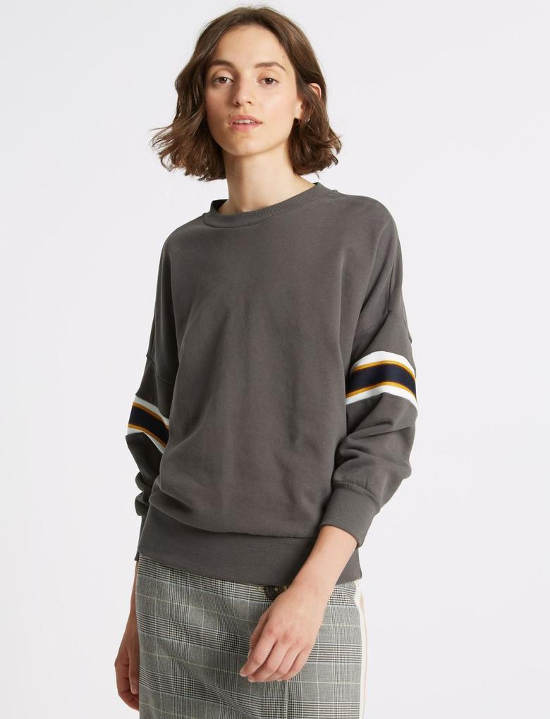 Kahverengi Saf Pamuklu Uzun Kollu Sweatshirt