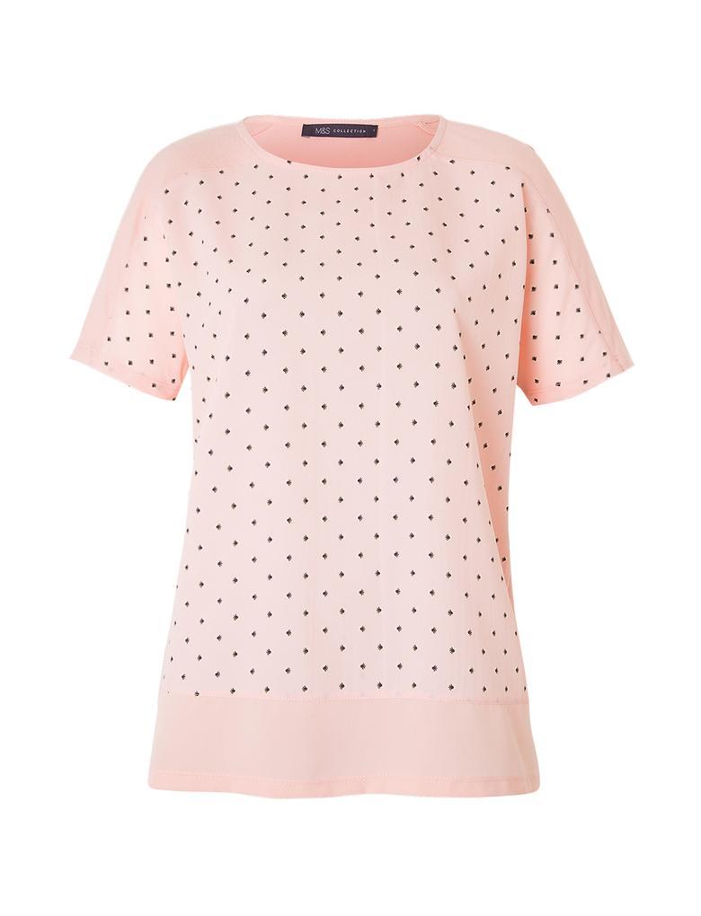 Kısa Kollu Puantiyeli T-Shirt