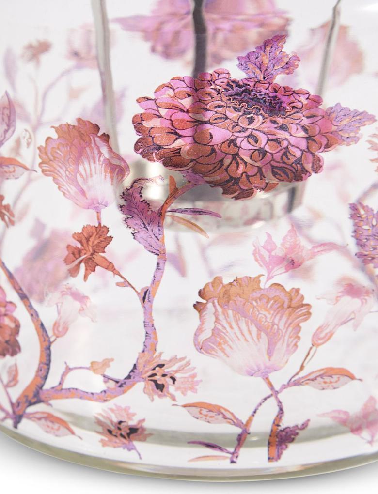 Kırmızı Çiçek Desenli Küçük Mumluk