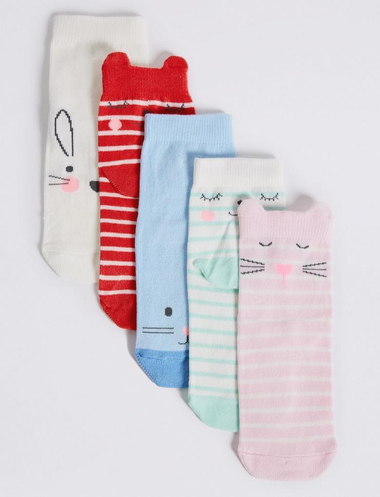Multi Renk 5 Çift Çorap (Freshfeet™ Teknolojisi ile)