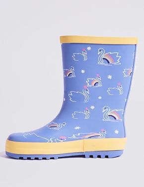 Kuğu Desenli Yağmur Botu