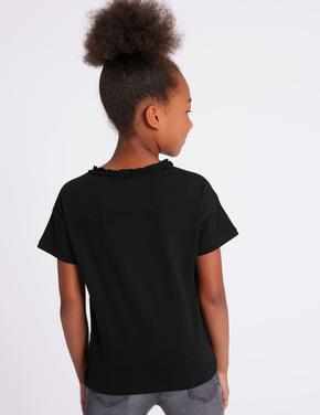Saf Pamuklu Püskül Detaylı T-Shirt