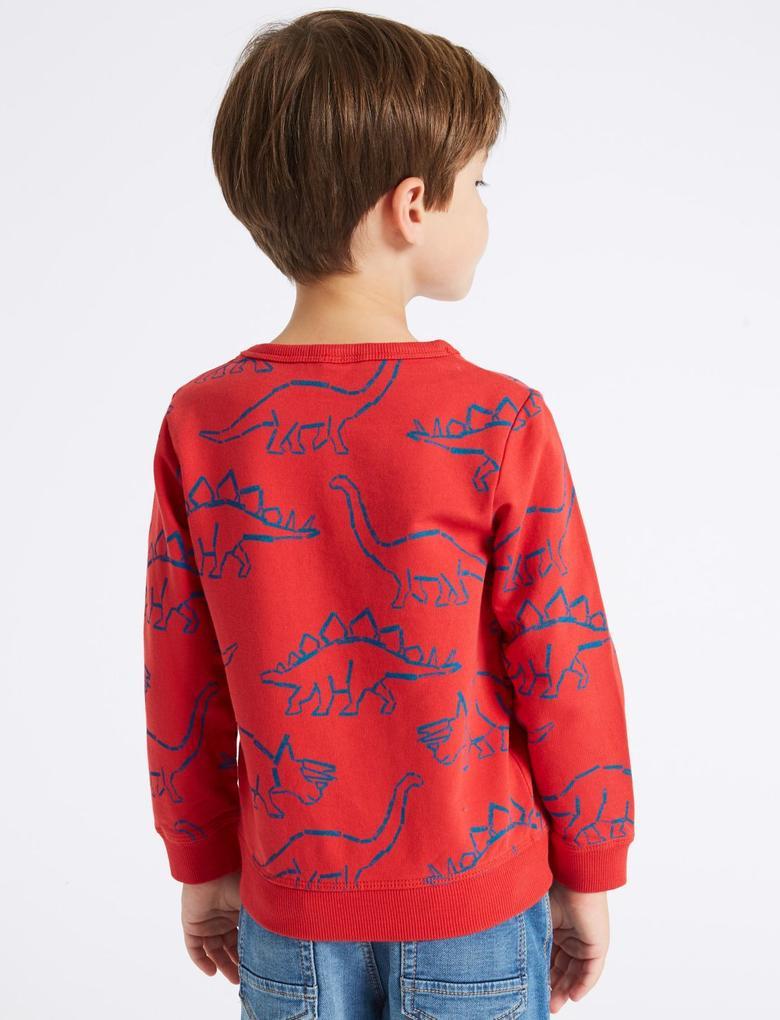 Kırmızı Saf Pamuklu Desenli Sweatshirt