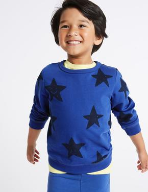Saf Pamuklu Yıldız Desenli Sweatshirt