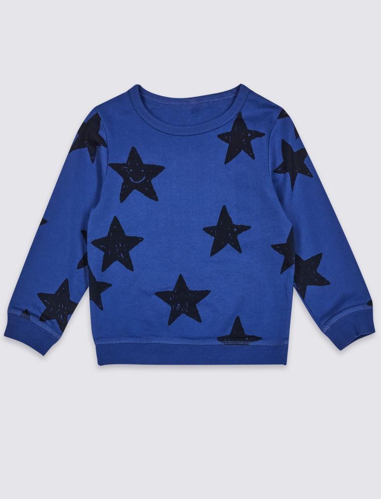 Multi Renk Saf Pamuklu Yıldız Desenli Sweatshirt