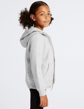 Pamuklu Kapüşonlu Fermuarlı Sweatshirt