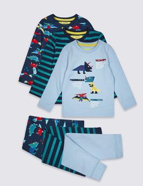 3'lü Pamuklu Streç Pijama Takımı