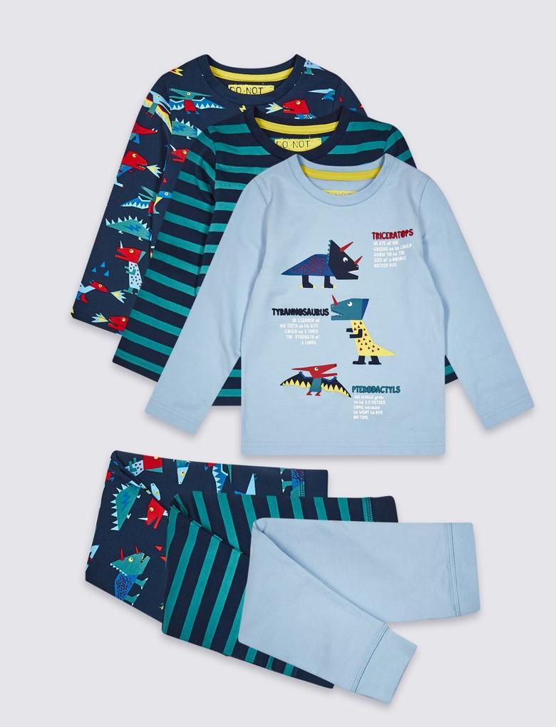 Lacivert 3'lü Pamuklu Streç Pijama Takımı
