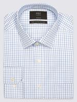Mavi Saf Pamuklu Ütü Gerektirmeyen Regular Fit Gömlek