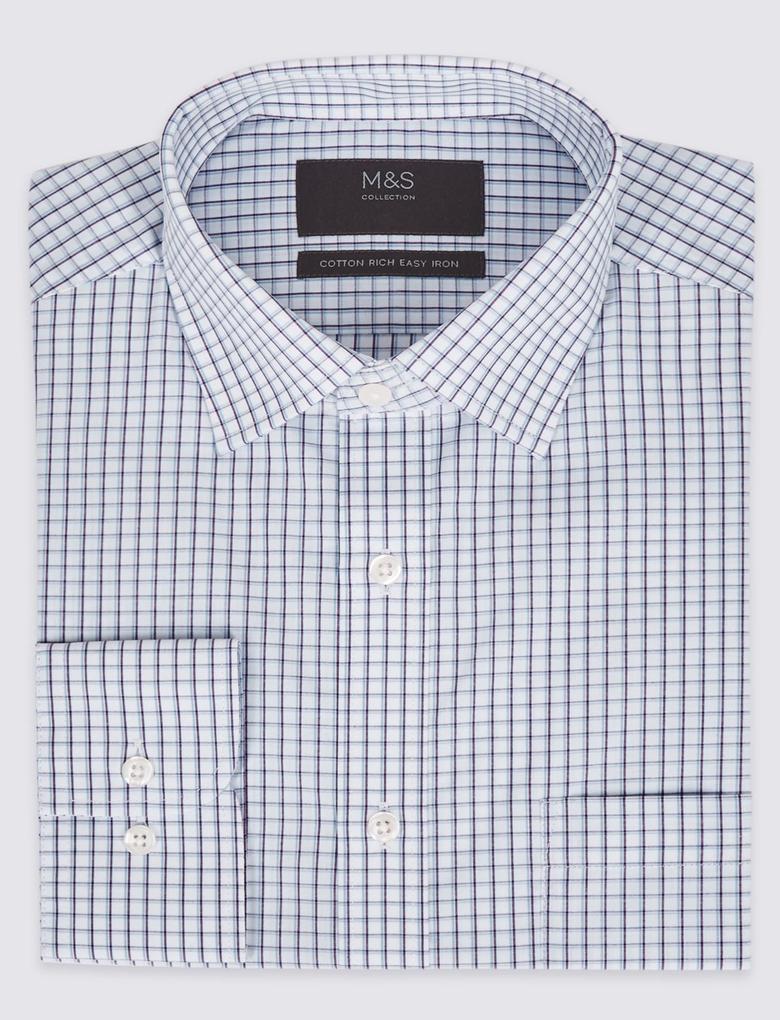 Erkek Mavi Pamuklu Regular Fit Gömlek