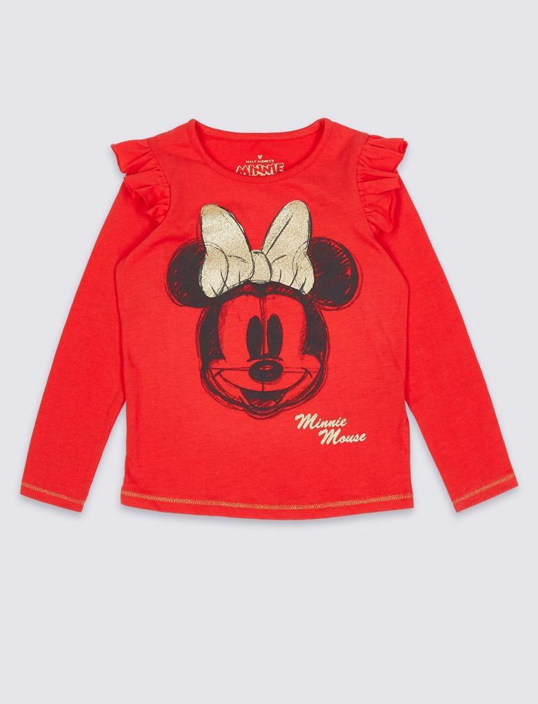 Minnie Mouse™ Desenli Uzun Kollu T-Shirt