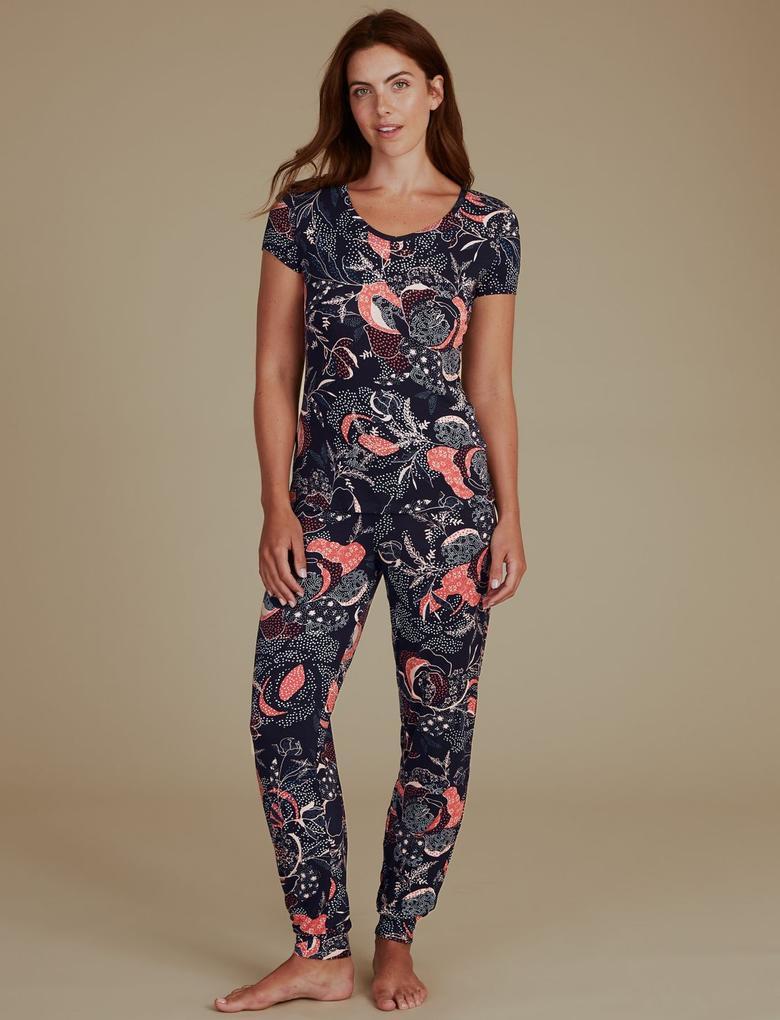 Kadın Lacivert Desenli Kısa Kollu Pijama Üstü