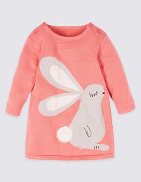 2 Parça Tavşanlı Elbise ve Külotlu Çorap Takımı