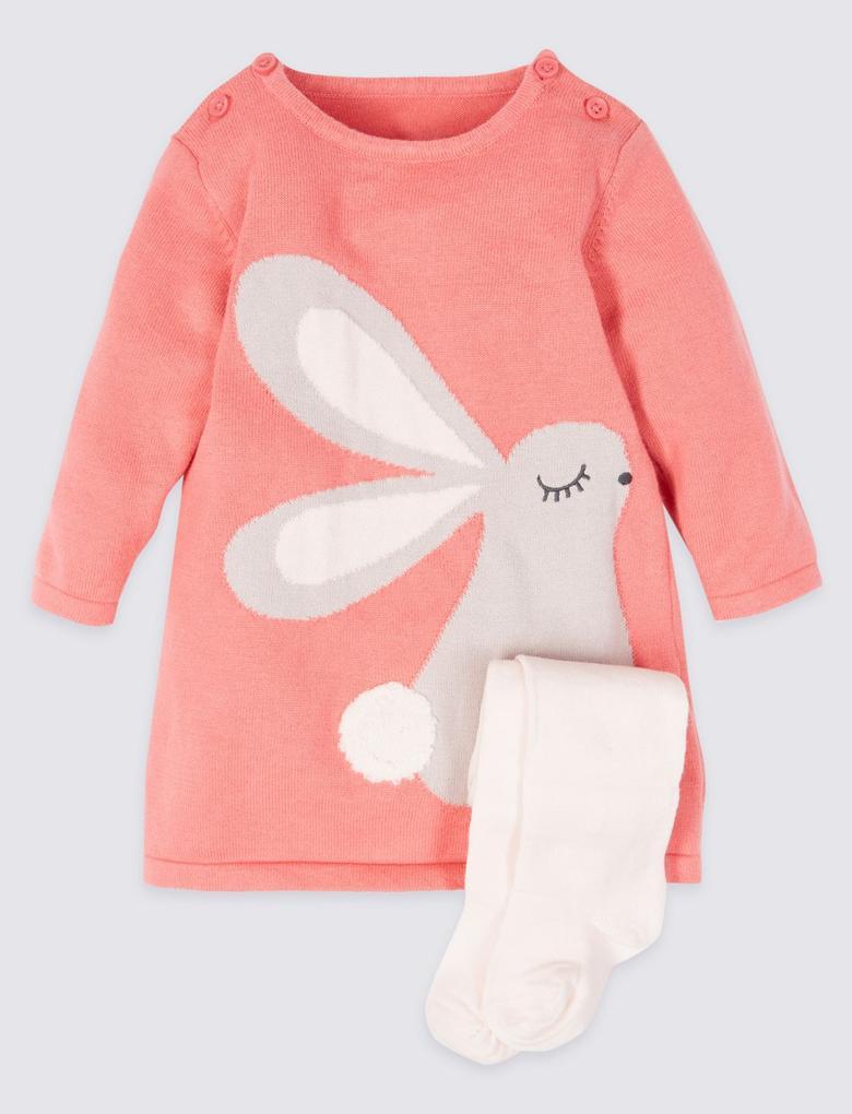Pembe 2 Parça Tavşanlı Elbise ve Külotlu Çorap Takımı