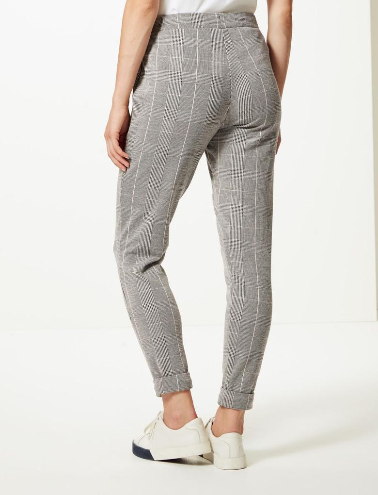 Ekose Slim Leg Pantolon
