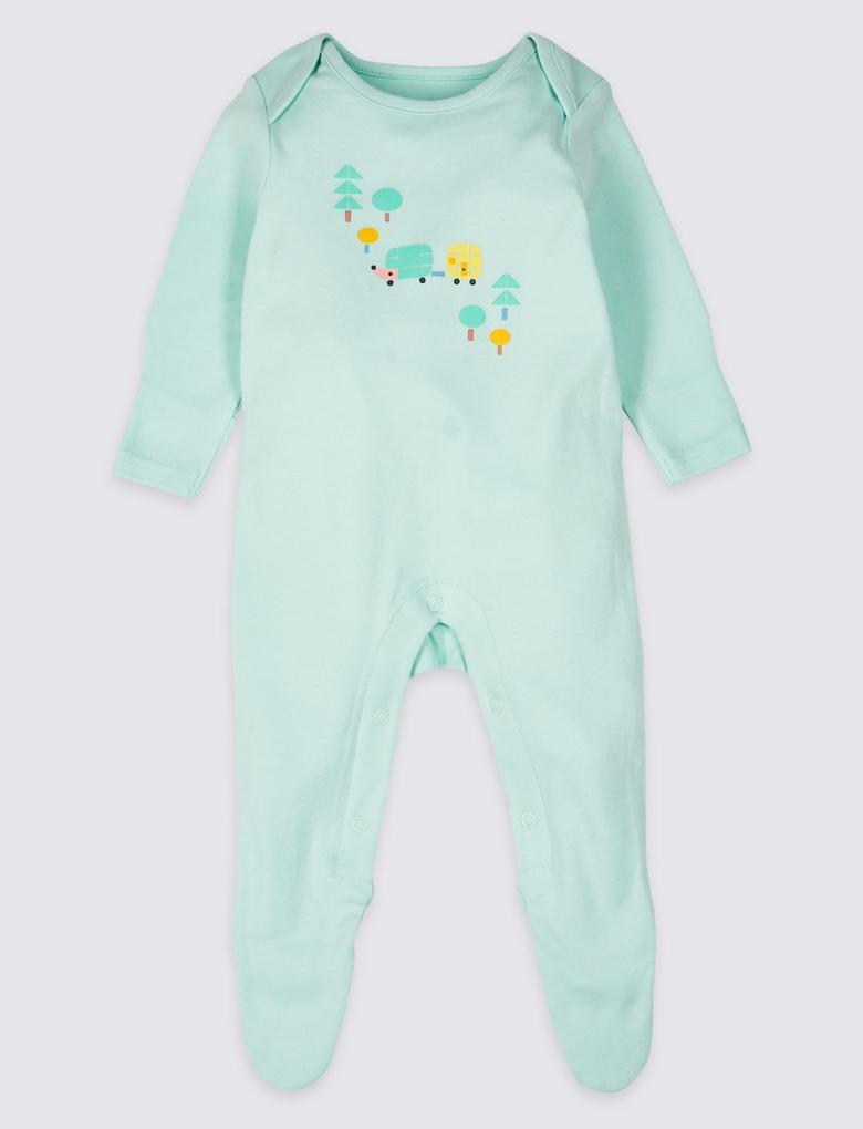 3'lü Saf Pamuklu Tulum Pijama