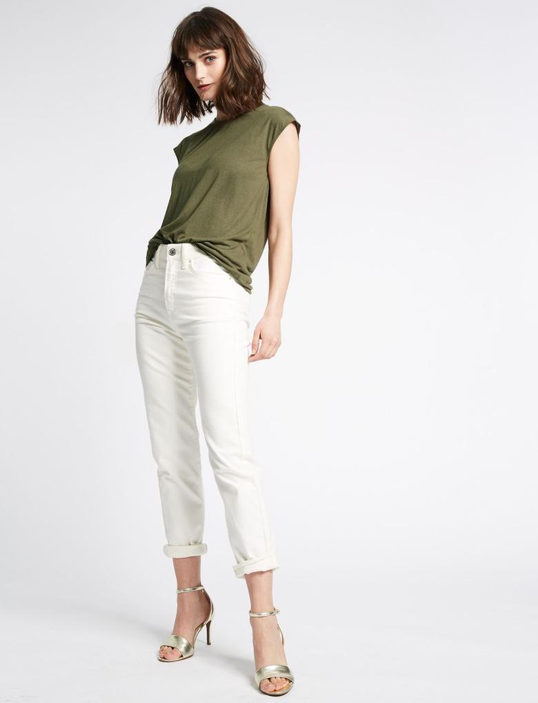 Yeşil Yuvarlak Yaka Keten Karışımlı T-Shirt