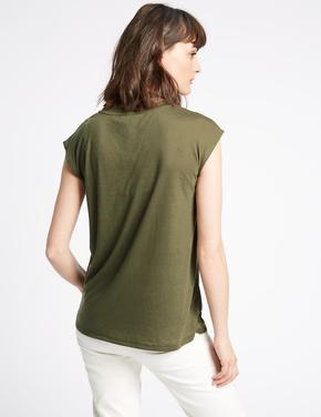 Yuvarlak Yaka Keten Karışımlı T-Shirt