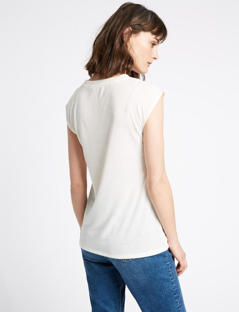 Bej Yuvarlak Yaka Keten Karışımlı T-Shirt