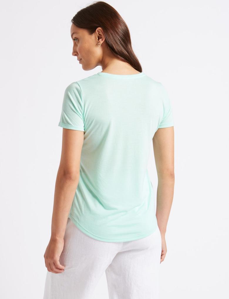 Yeşil Yuvarlak Yaka Kısa Kollu T-Shirt