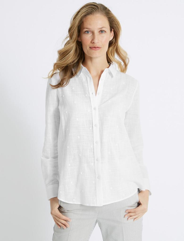 Saf Pamuklu Uzun Kollu İşlemeli Gömlek