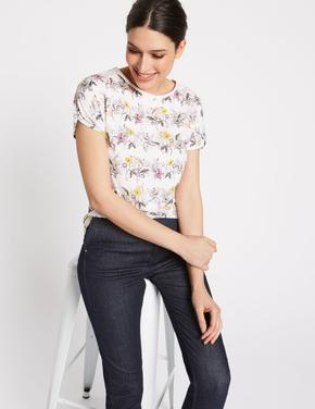 Kadın Bej Pamuklu Çiçek Desenli Kısa Kollu Bluz
