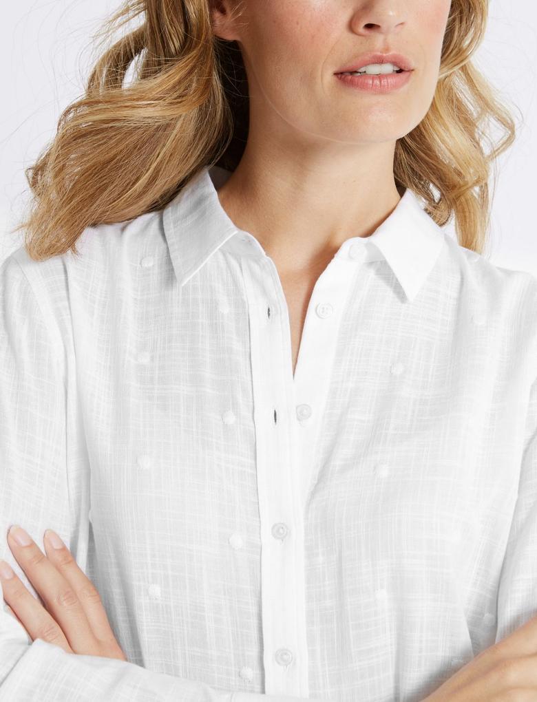 Beyaz Saf Pamuklu Uzun Kollu İşlemeli Gömlek