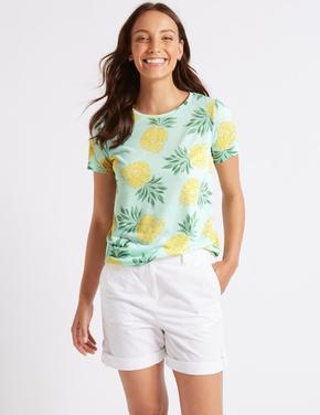 Yeşil Desenli Yuvarlak Yaka Kısa Kollu T-Shirt