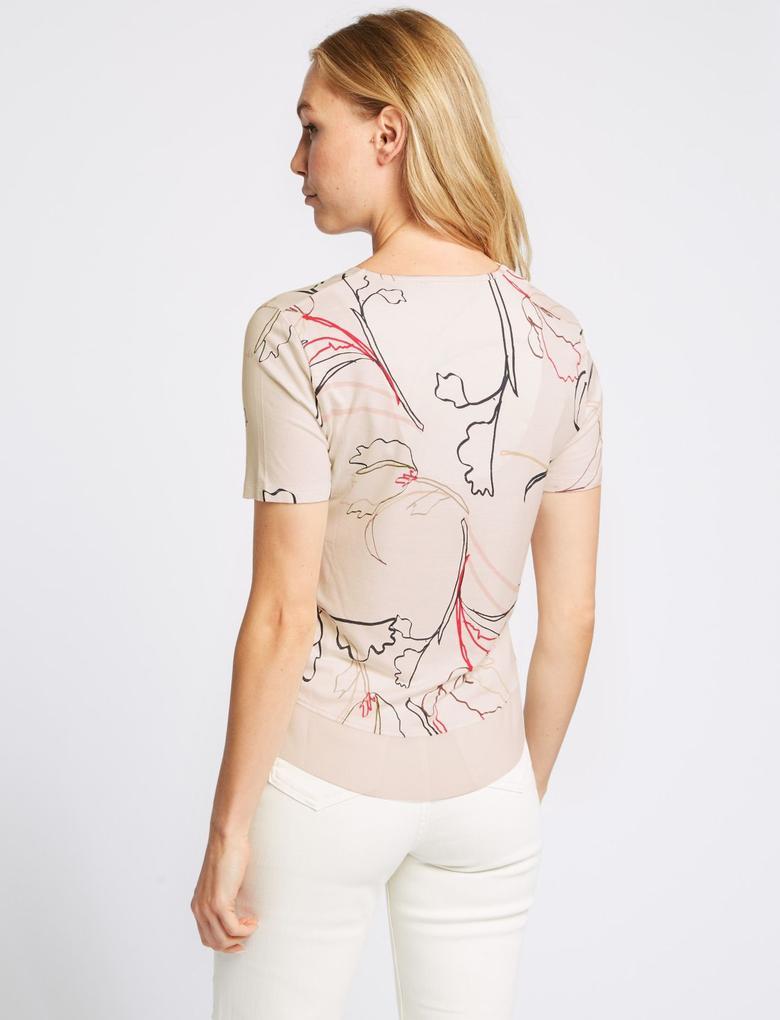 Krem Çiçek Desenli V Yaka Kısa Kollu Bluz